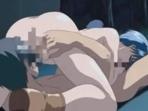 [エロアニメ] 青髪の美少女と青姦セックス