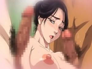 【エロアニメ】 旅館の男たちに犯されるエロ妄想に浸る美人女将