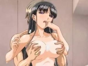 【エロアニメ】 黒髪清楚な彼女にお風呂でパイズリしてもらってから泡まみれ騎乗位セックス