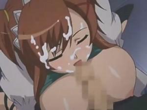 【エロアニメ】 食器洗いしてたらウェイトレスの娘に隠れてパイズリフェラされた