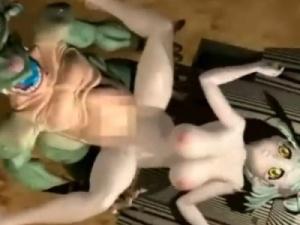 【3Dエロアニメ】 緑髪メガネっ娘が醜いモンスターに犯されハメ撮りされるw