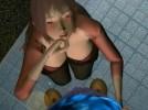 【3Dエロアニメ】 公衆トイレで黒人男のチンポ手コキする痴女お姉さん