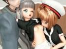 【3Dエロアニメ】 カードキャプターさくらの木之本桜と大道寺知世と3pセックス