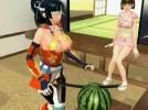 【3Dエロアニメ】 お股に刀挟んでスイカ切りながらイッちゃう変態レベル高すぎな3Dエロアニメ