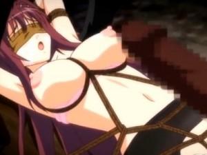 【エロアニメ】 目隠し拘束されて超極大チンポ無理やりぶち込まれてお腹膨れるほど精液注がれる黒スト美少女