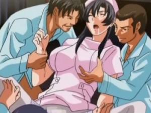 【エロアニメ】 ノーパンであることが患者さんたちにバレて輪姦される黒髪巨乳ナース