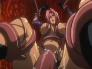 【エロアニメ】 オークの極太チンポでマンコとアナル同時ファックされたり触手に犯される赤髪褐色美女