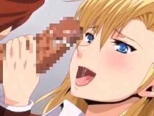 【エロアニメ】 男子トイレでキモオタ男子の童貞包茎チンポに溜まったチンカス丁寧に舐めとってフェラする痴女金髪生徒会長