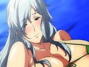 【エロアニメ】 銀髪爆乳美女にエロ水着着せてチンポご奉仕させてご褒美にデカチンハメてセックス
