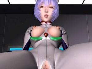 【3Dエロアニメ】 おっぱいとマンコ丸出しプラグスーツで潮吹き騎乗位セックスするエヴァの綾波レイ