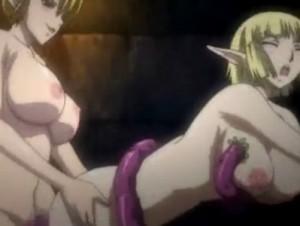 【エロアニメ】 ふたなりチンポ生やされたエルフにアナルレイプされるエルフ少女