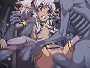 【エロアニメ】 モンスターのチンポや触手で犯されて種付けされるちっぱいダークエルフ美少女