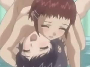 【エロアニメ】 ふたりのちっぱい美少女のオマンコサンドイッチに先生チンポ突っ込んで3pセックス