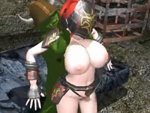 【3Dエロアニメ】 爆乳女戦士がモンスターチンポで素股からの立ちバックで中出しされちゃう