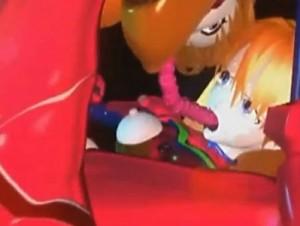 【3Dエロアニメ】 エヴァのアスカがもう一人のアスカに双頭ディルドでレズレイプされて潮吹いてイカされる