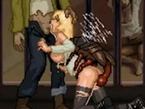 【エロアニメ】 迫り来るゾンビやモンスターに犯されまくるドット絵金髪巨乳美女
