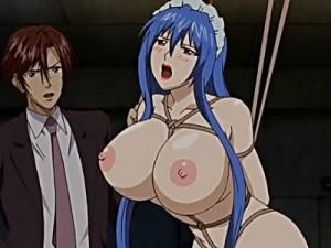 【エロアニメ】 爆乳メイドの女体盛りにお仕置き部屋でSM調教アナルセックス