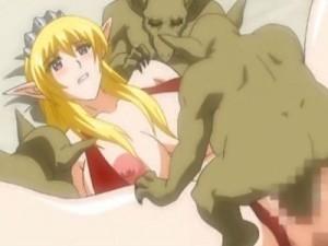 【エロアニメ】 汚いオッサンにアナル犯されゴブリンにオマンコも犯され中出しされるエルフのお姫様