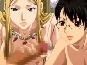 【エロアニメ】 若返り精液の話を聞いてやってきた美女二人に足コキにフェラチオで特濃ザーメン搾り取られるw