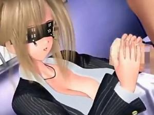 【3Dエロアニメ】 黒髪制服メガネっ娘とセックス&スーツ姿のお姉さんに目隠し手コキしてもらってデカチンハメるw