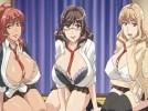 【エロアニメ】 制服コスプレした淫乱爆乳人妻たちのトリプルパイズリ4Pハーレムセックス