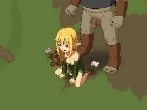 【エロアニメ】 オーガ族に捕まり中出し異種姦レイプされる金髪エルフ少女のドット絵エロアニメ