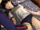 【3Dエロアニメ】 寝ているちっぱいブルマっ娘にエッチないたずらして中出し睡姦セックス
