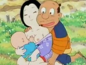 【エロアニメ】 赤ちゃんに母乳与えてる妻に欲情した夫が妻に愛撫し始めてそのまま赤ちゃんの目の前で青姦セックスしちゃう日本昔ばなし風エロアニメ