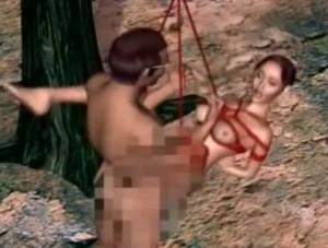 【3Dエロアニメ】 宙吊り緊縛拘束状態でオマンコ犯され中出しされちゃう人妻