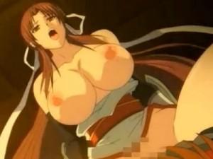 【エロアニメ】 巨乳くノ一に誘惑されてオマンコの奥まで届くデカチンでイカせる中出しセックス