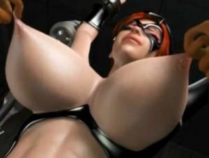 【3Dエロアニメ】 敵に捕まった巨乳仮面女が拘束されて乳首痛いくらい強く引っ張られたりスパンキングマシーンで尻叩き拷問されちゃうw