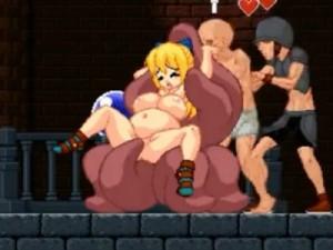 【エロアニメ】 素っ裸でステージ進んで敵モンスターやふたなり娘に犯され機械姦もされちゃう金髪巨乳美少女
