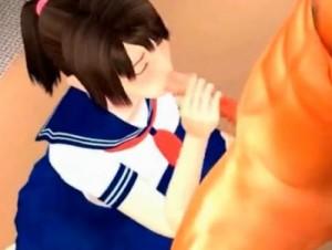 【3Dエロアニメ】 次の試合に備えてセーラー服ポニテ妹に性欲処理してもらう近親相姦セックス