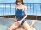 【3Dエロアニメ】 ハゲオヤジのデカチンポに手コキ奉仕して野外でハメられちゃうスク水巨乳少女