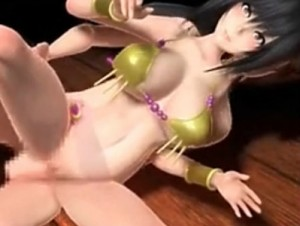 【3Dエロアニメ】 エッチな踊り子衣装の黒髪巨乳美少女とセックスして足コキもしてもらって大量射精w