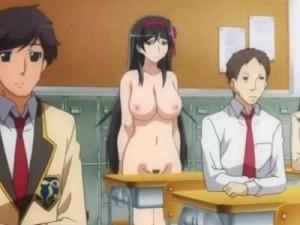 【エロアニメ】 全裸で授業を受けさせられたり男子たちに輪姦中出しレイプされちゃう黒髪美少女優等生
