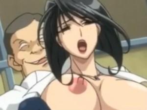 【エロアニメ】 学校のトイレで用務員のオッサンにレイプされてオシッコお漏らしイキする爆乳女教師