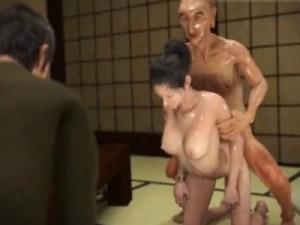 【3Dエロアニメ】 夫の目の前でジジイに寝取られ中出しレイプされて快楽堕ちしちゃう人妻