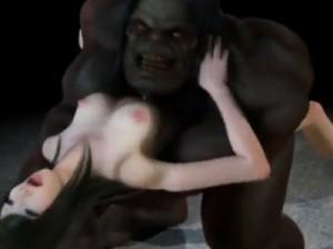 【3Dエロアニメ】 巨大な虫や亜人のバケモノに異種姦種付けレイプされる美女