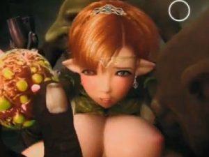 【3Dエロアニメ】 ゴブリンに捕まり異種姦アナル中出しレイプされるエルフ姫 ※音無し
