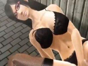 【3Dエロアニメ】 仕事帰りの深夜の街で変態痴女に出会ってディルドオナニー目の前で見せられちゃうw