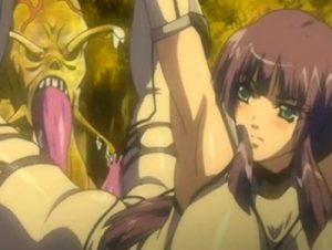 【エロアニメ】 ナメクジ怪物の触手チンポでアナル犯され中出しされる爆乳敗北ヒロイン