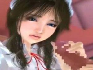 【3Dエロアニメ】 黒髪美少女メイドに手コキ&パイズリご奉仕されて精液中出しセックス