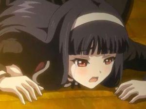 【エロアニメ】 黒髪黒セーラー服美少女の黒タイツ破いてアナルいじりながらの後背位セックス