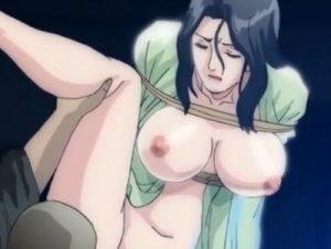 【エロアニメ】 巨乳熟女人妻がドS夫に緊縛バイブ調教セックスされてるの覗き見してオナる青年