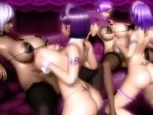 【3Dエロアニメ】 ふたなり美女のデカチンポにパイズリ&フェラ奉仕する爆乳メイドたち