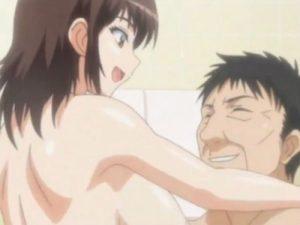 【エロアニメ】 お風呂で父親と近親相姦生ハメセックスしてお父さん生チンポで感じちゃう娘